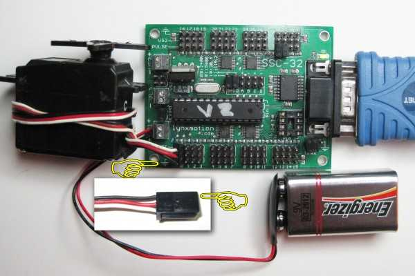 Connect servo to SSC-32 servo controller